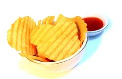 Microplaquetas e pasta do pimentão Fotografia de Stock