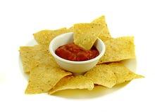 Microplaquetas e salsa Fotografia de Stock