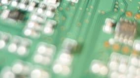 Microplaquetas eletrônicas do computador, placa de circuito macia do foco video estoque