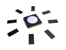 Microplaquetas que dão forma ao sol foto de stock