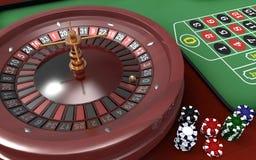 Microplaquetas & roleta do póquer Fotografia de Stock Royalty Free