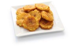 Microplaquetas verdes fritadas da banana Imagens de Stock