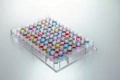 Microplate Vertiefungen gefüllt mit Farbenproben Lizenzfreies Stockbild