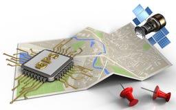 microprocesador de los gps 3d Imagen de archivo libre de regalías