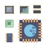 Microprocesador e iconos electrónicos de los microprocesadores fije el ejemplo del vector del microprocesador Imagenes de archivo