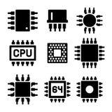 Microprocesador y Chips Icons Set de la CPU Vector Fotografía de archivo libre de regalías