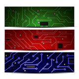 Microprocesadores de diversos colores con los procesadores con estafa Imagen de archivo
