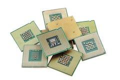 Microprocesadores de ordenadores aislados Fotografía de archivo