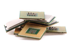 Microprocesadores de ordenadores aislados Fotografía de archivo libre de regalías
