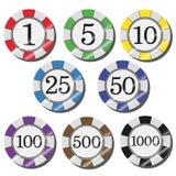 Microprocesadores del casino Fotos de archivo libres de regalías