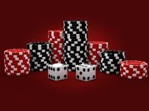 Microprocesadores del casino con los dados Foto de archivo libre de regalías