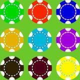Microprocesadores del casino de diversos colores ilustración del vector