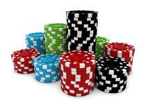 Microprocesadores del casino en la tabla blanca Foto de archivo