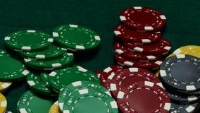 Microprocesadores del casino en la tabla verde metrajes
