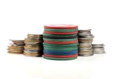 Microprocesadores del dinero y del casino Fotografía de archivo libre de regalías