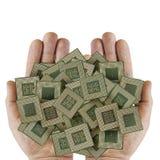 Microprocesadores sucios viejos en una palma humana Imagenes de archivo