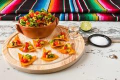 Microprocesadores y verduras de los Nachos en un cuenco y un tequila w de la loza de barro Fotografía de archivo libre de regalías