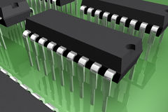 Microprocessor. Semiconductor electronic integrated circuit -3d Stock Image