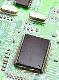 Microprocessor. Mounted on board, making approach stock images