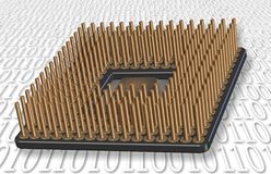 Microprocessor. An illustration of a microprocessor and binary code in the background Royalty Free Stock Photo