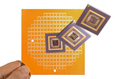 Microprocessor and chip mask in hand Royalty Free Stock Image