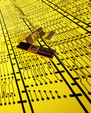 Microprocessor Chips on Circuit Plans Stock Photos