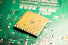 Microprocessor or cpu on a circuit board Stock Photo
