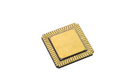 Microprocessor CPU IC Chip. Bottom on flat pack CPU chip against white background Stock Images