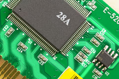 The microprocessor on the electronic board. Royalty Free Stock Photos