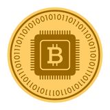 Microprocessor golden coin vector icon. gold yellow flat coin symbol isolated on white. eps 10 Royalty Free Stock Images