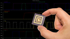 Microprocessor in hand over  signals plots Stock Photography