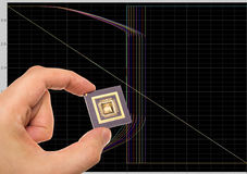 Microprocessor in hand over  signals plots Stock Image