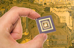 Microprocessor in hand and PCB Stock Image