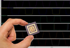 Microprocessor in hand Stock Photos