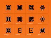 Microprocessor icons on orange background Stock Photography