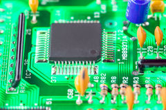 Microprocessor and other electronic components mounted on mother Royalty Free Stock Images