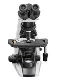 microscópio isolado no fundo branco com trajeto de grampeamento fotografia de stock