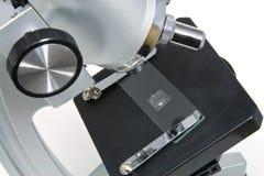 Microscópio no branco Fotos de Stock Royalty Free