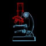 Microscópio (transparentes vermelhos e azuis do raio X 3D) Imagens de Stock