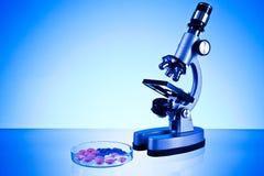 Microscoop en pillen Royalty-vrije Stock Fotografie