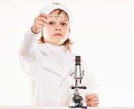 Microscoopjongen Stock Foto