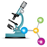 Microscope and abstract molecules Stock Photography