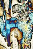 Microscope-art avec les cristaux de flambage Photos stock