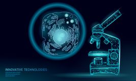 Microscope artificial cell synthesis animal human designer cell biochemistry. Engineering GMO research concept. Macro. Close zoom future education technology stock illustration