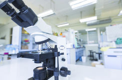 Microscope at the blood laboratory. Close up of microscope at the blood laboratory Stock Photos
