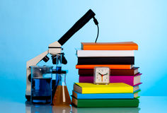 Microscope, books Royalty Free Stock Image