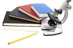 Microscope, books isolated on white Royalty Free Stock Images