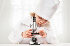 Microscope Boy Royalty Free Stock Photos