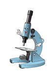 Microscope cartoon character with specimen slide Stock Images