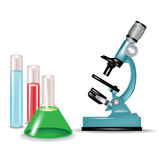 Microscope and chemical substances. Glass containers isolated Stock Image